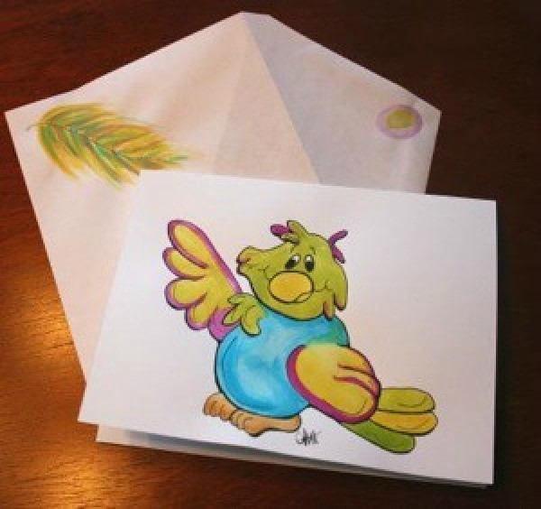 Cute bird notecard with feather on envelope..