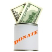 A donation can with cash in it.