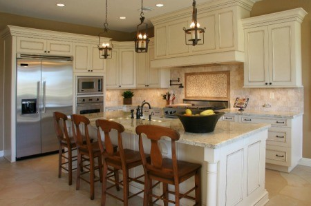 Kitchen with light colored cabinets.