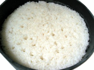 Rice in a cast iron pan.