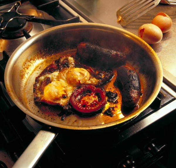 Food burned in bottom of pan