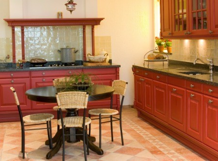 Kitchen with tile.