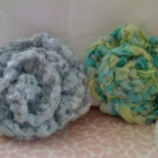 Two crocheted pins.