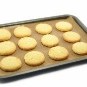 Shortbread cookies on a cookie sheet.