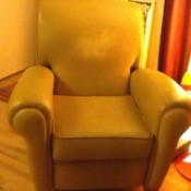 Yellow vinyl recliner.