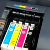 Ink cartridges inside of a printer.