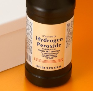 A bottle of hydrogen peroxide, great to use to remove blood stains.