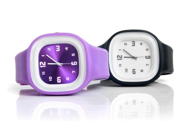 Purple and Black wrist watch
