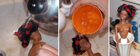 Wetting rolled hair and drying with doll in vase..