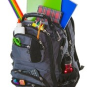 A backpack full of school supplies.