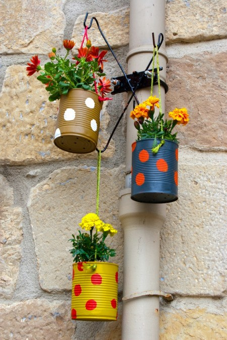 recycled can planters