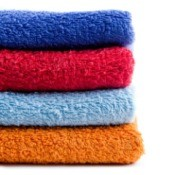 A stack of colorful towels.