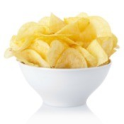 A bowl of potato chips.
