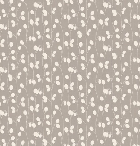 Taupe wallpaper with white berries on vines.