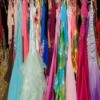 Closet full of prom dresses.