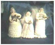 Three different crochet angels.