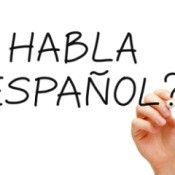 Writing Spanish with a dry erase marker.