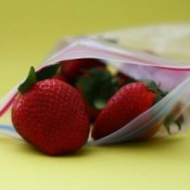 Freezer bag full of strawberries.