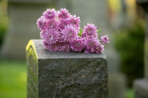 Flowers on a grave.