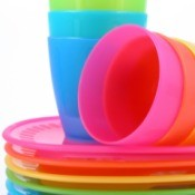 plastic bowls and cups