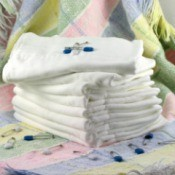 A stack of a cloth diapers.