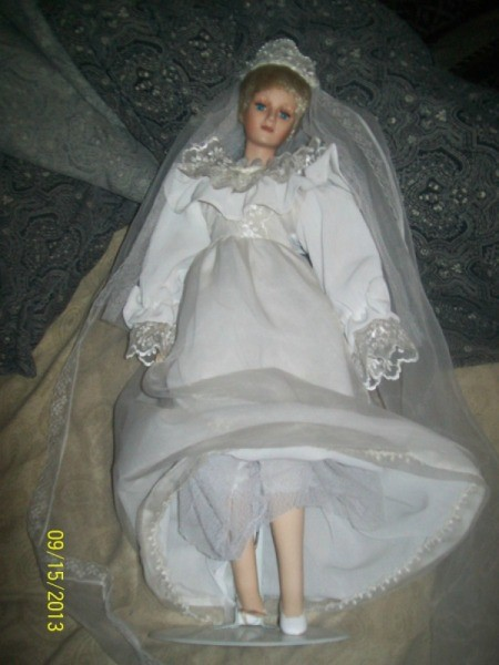 Diana in bridal gown.