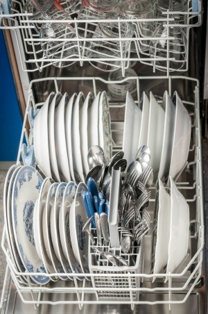 Dishwasher with an open door.