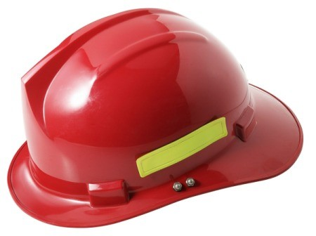 Red toy firefighter helmet.