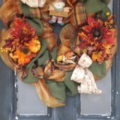 Fall flower and ribbon wreath.