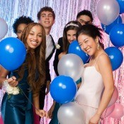 A group of teens at a homecoming dance.