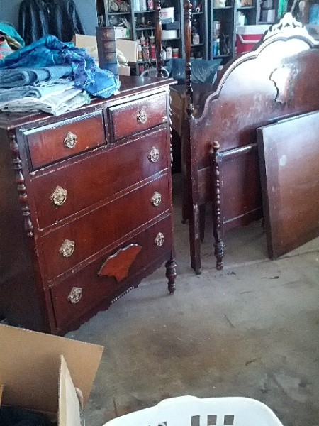 Antique dresser, head and footboard.