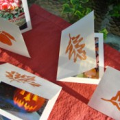 Leaf stamped greeting cards.