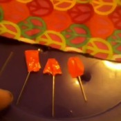Sewing pins with duct tape tabs on ends for seeing more easily.