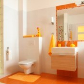 Bathroom with orange towels and an orange rug.