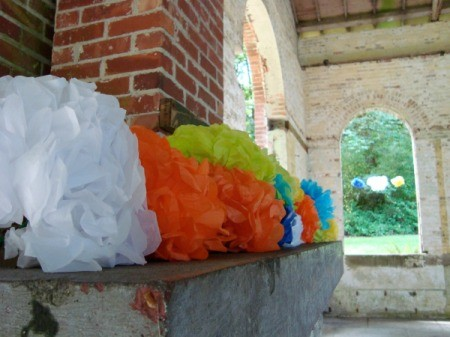 tissue paper flowers at wedding