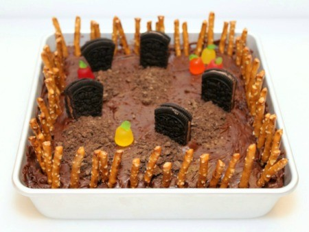 Making Graveyard Brownies