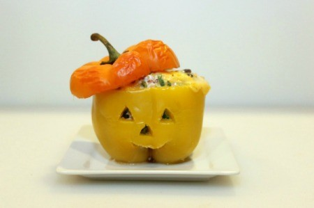 Jack-O-Lantern Stuffed Bell Peppers