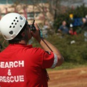 A search and rescue worker during a natural disaster.