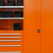 Bright orange painted metal cabinets.