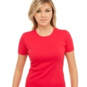 A girl wearing a red shirt.