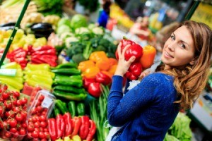 A young woman at the market.
