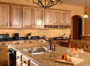 Kitchen with granite countertops.