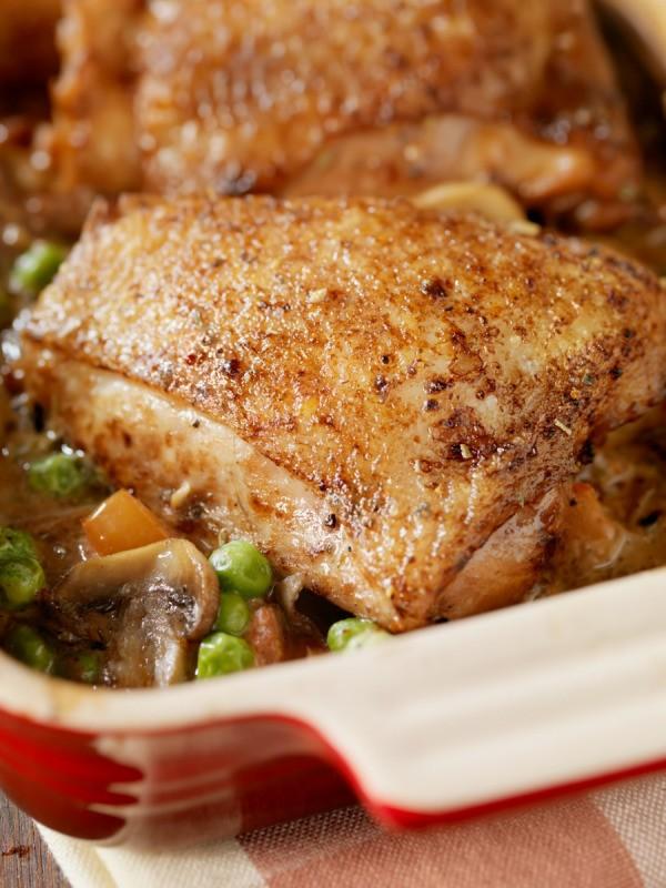 Rhubarb-Braised Chicken Thighs Recipe — Dishmaps