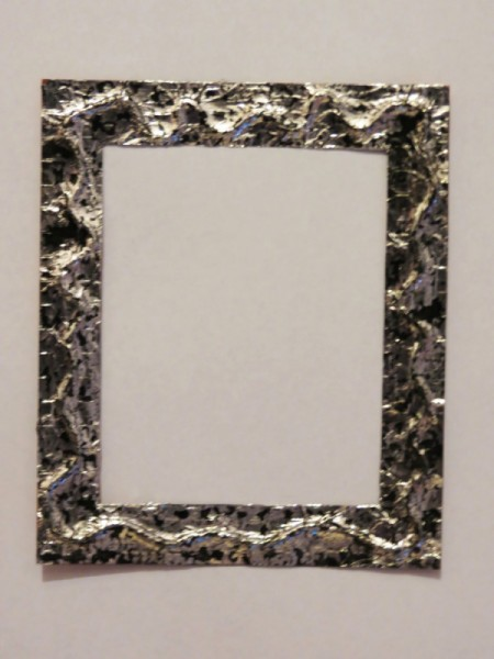 Frame after using shoe polish get pewter effect.