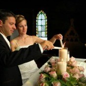 Couple lighting candles in church