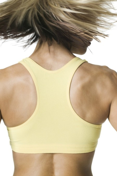 Woman wearing a sports bra.
