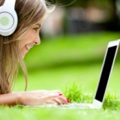 Girl Downloading Music