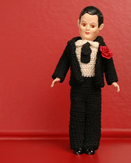 Crocheted Tuxedo on Doll