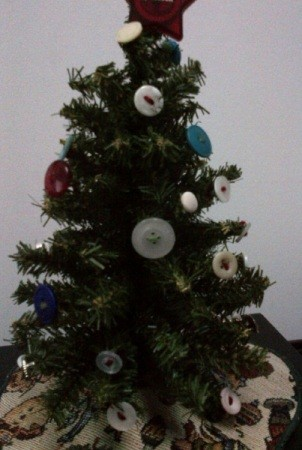 Tree decorated with buttons.