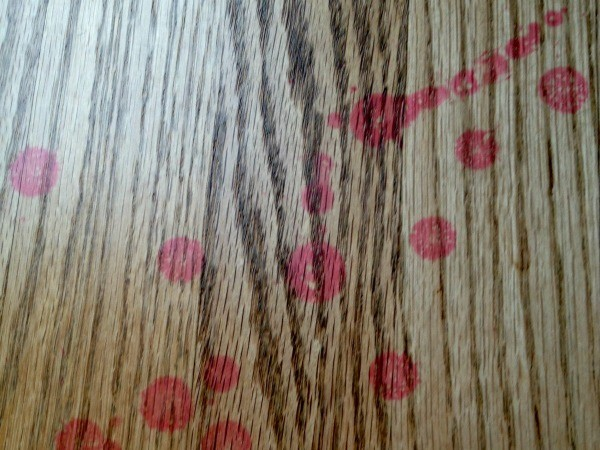 Red wax stains on wood floor. - Cleaning Candle Wax From Hardwood Floors ThriftyFun